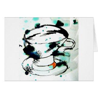 green & black,& a tea cup card