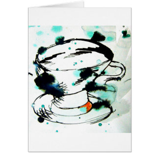 green & black,& a tea cup greeting card