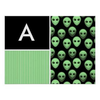 Green & Black Alien Print