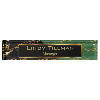 Green, Black and Gold Marble Design Name Plate