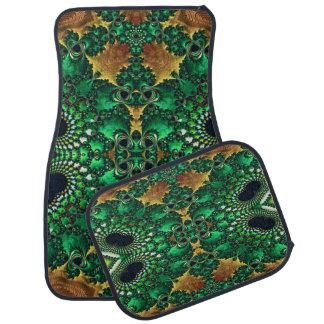 Green Black and Gold Set of 4 Decorative Car Mats Floor Mat