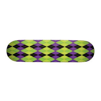 Green Black and Purple Evil Argyle Plaid Custom Skateboard