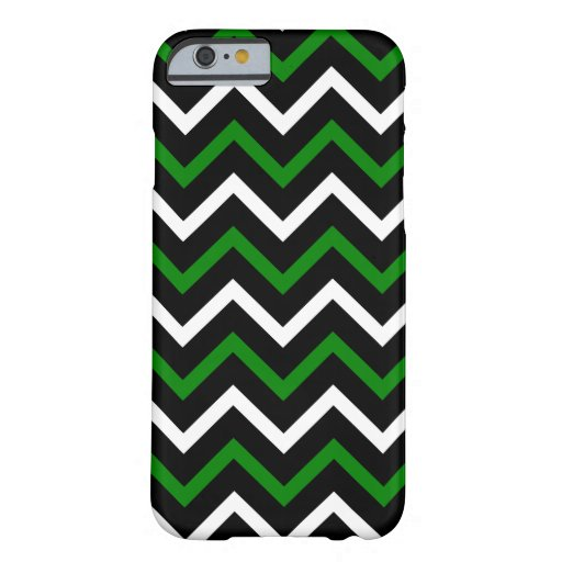 Green, Black and White Chevron Pattern (Zig Zag) iPhone 6 Case