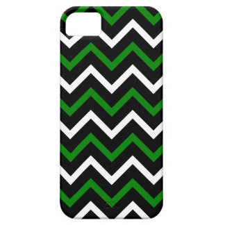 Green, Black and White Chevron Pattern (Zig Zag) iPhone 5 Cover