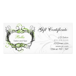 green,black and white Chic Gift Certificates Customized Rack Card