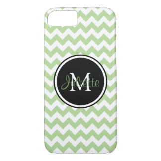 Green Black and White Monogrammed Chevron iPhone 8/7 Case
