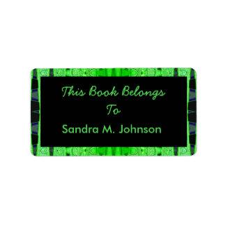 green black bookplates address label