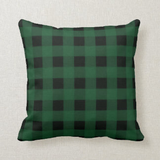 Green Black Buffalo Checker Plaid Country Rustic Cushion