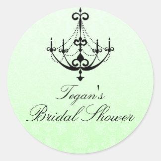 Green & Black Chandelier Bridal Shower Sticker