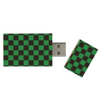 Green black checkers wood USB 2.0 flash drive