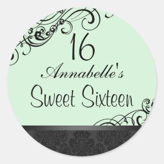 Green & Black Chic Damask Sweet16 Sticker