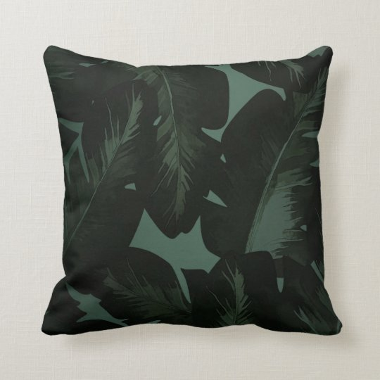 Green & Black Chic Tropical Leaves Chic Island Throw Pillow