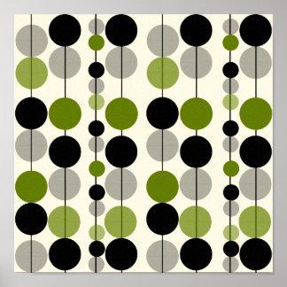 Green & Black Circle Design Canvas Print