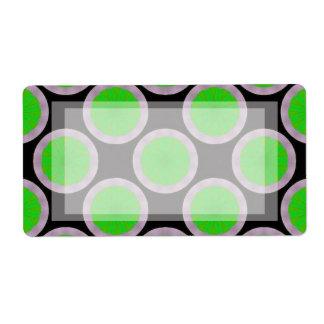 green black circles pattern shipping label