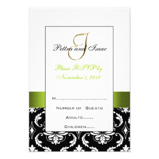 Green Black Damask Initial Wedding RSVP Pettra Personalized Invitations