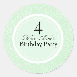 Green & Black Damask Kids Birthday Party Sticker