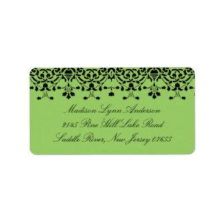 Green/Black Damask Lace Return Address Label
