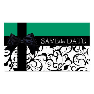 Green black damask save the date business cards