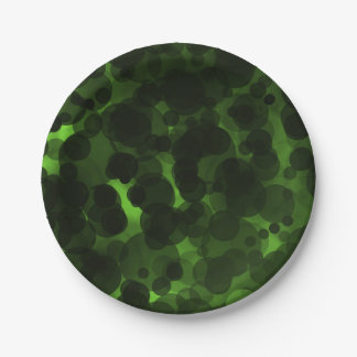 Green & Black Dots Modern Chic Party Elegant Paper Plate