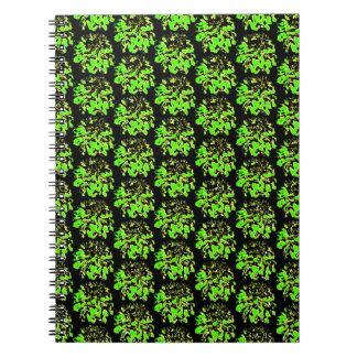 Green Black  Floral Dahlia Flower Pattern Notebooks