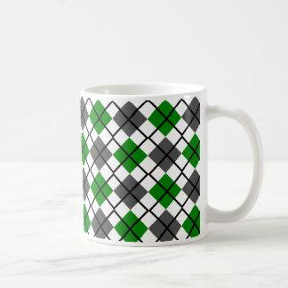 Green, Black, Grey on White Argyle Print Mug
