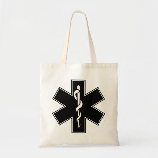 Green Black Grey Purple  Nurse EMS Star of Life Tote Bag