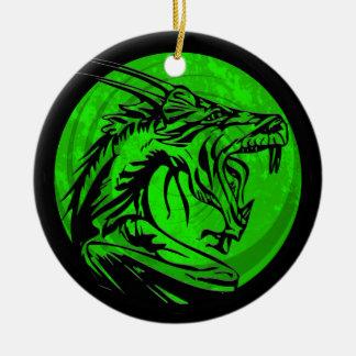 Green black grunge dragon round ornament