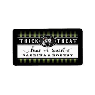 Green Black Halloween Wedding Names Love is Sweet Address Label