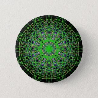 Green Black Kaleidoscope Mandala Art 6 Cm Round Badge