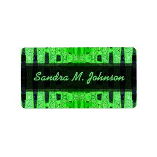 green black address label