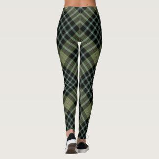 Green & Black Large Tartan Plaid Diagonal Leggings