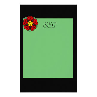 Green & Black  Monogram Personalised Stationery