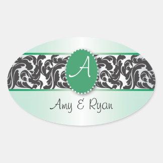 Green & Black Monogram & Vintage Swirls wedding Oval Sticker