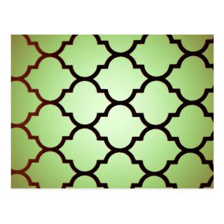 green black Moroccan Lattice Repeatable Pattern Postcard