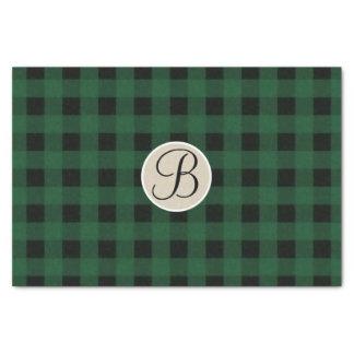 Green Black Plaid Checker Rustic Monogram Initial Tissue Paper