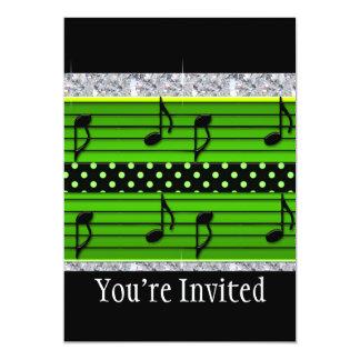 "Green & Black Polka Dot Diamonds & Musical Notes 5"" X 7"" Invitation Card"