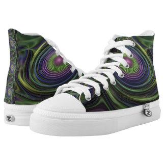 Green Black Purple Galactic Swirl Fractal Sneaker