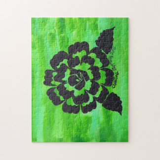 Green & Black Rose Silhouette 11 x 14 Puzzle