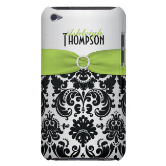 Green, Black, Silver Damask iPod Touch Case