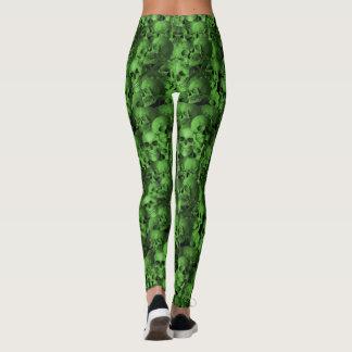 Green & Black Skulls Leggings