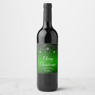 Green Black Sparkle Snowflakes Christmas Wine Label