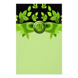 Green & Black Tree Leaves Wedding Customized Stationery
