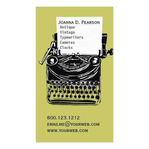 Green-Black  Vintage Typewriter Writer Publisher Pack Of Standard Business Cards