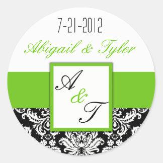 Green Black Wedding Monogram Damask Sticker