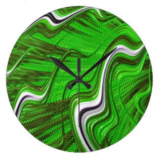 Green black white 3D textured abstract art clock