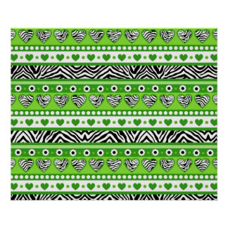 Green black & white abstract zebra hearts and dots print