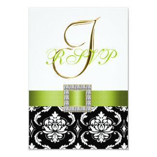 Green Black White Damask Initial Wedding RSVP 9 Cm X 13 Cm Invitation Card