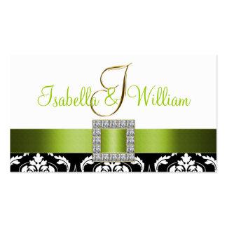 Green Black White Damask Wedding Place Card Business Cards
