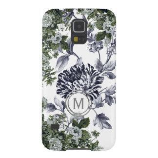 Green Black White Floral Garden Profusion Monogram Galaxy S5 Cover