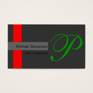 Green Black White Grey Red Stripes Business Card